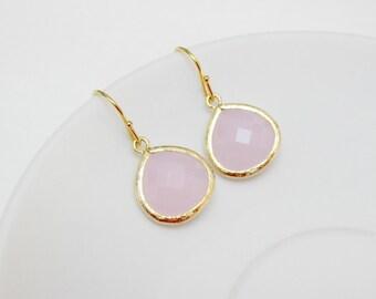 pale pink earrings , gold pink drop earrings , pink bridesmaids earrings , wedding jewelry , baby pink earrings , pink teardrop earrings