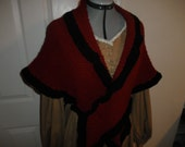 Civil War Black and Red Knitted Shawl