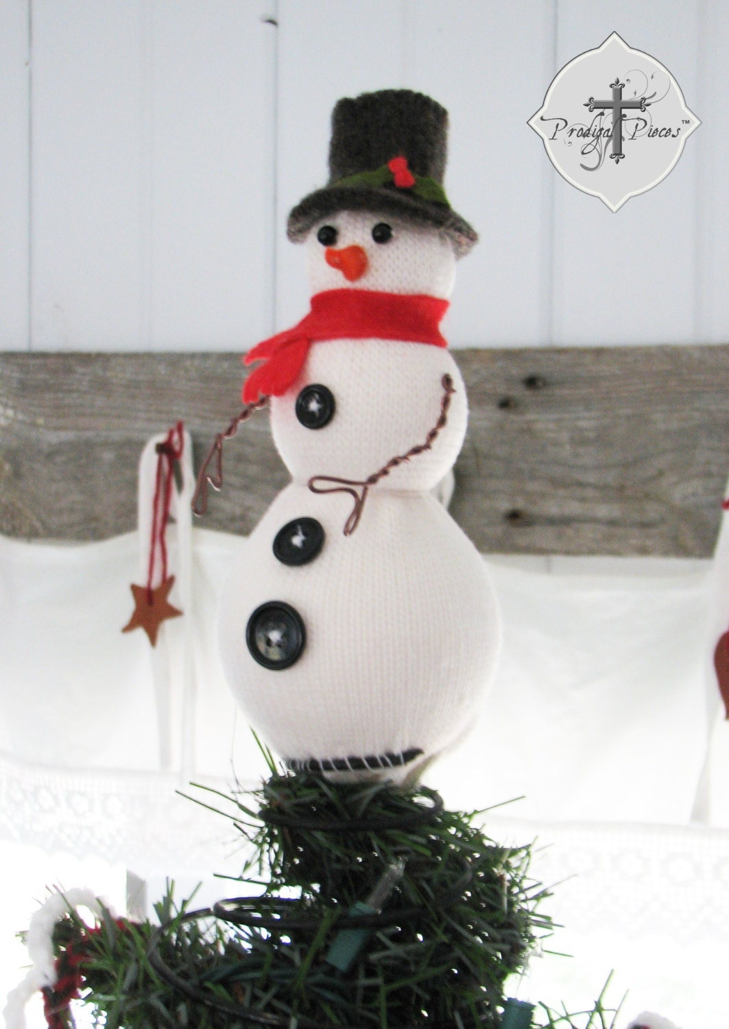 handcrafted snowman christmas tree topper made by. Black Bedroom Furniture Sets. Home Design Ideas