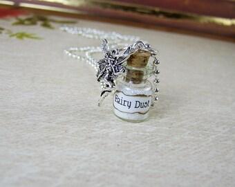 Fairy Dust Necklace - Fairies Glass Bottle Cork Vial Pendant - Halloween Faery Fae Kawaii Charm