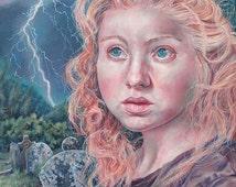 SALE 30% OFF Changeling: Original Pop Surrealism Portrait Gothic Dark Oil Painting