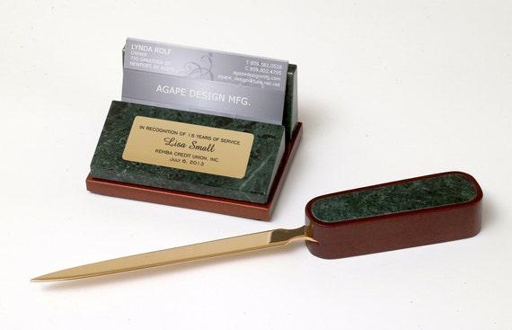 Business card holder letter opener desk set in marble and for Marble business card holder