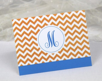 Monogram Note Cards. Chevron Print. Set of 10 Folded Cards. Thank You Notes. Personalized & Customizable Stationery