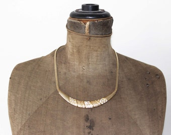 Chunky Gold Collar Necklace - Korea Rhinestone and Gold Necklace