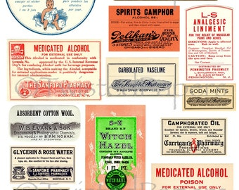 Vintage Apothecary & Medicine Labels, Drug Store Labels, Snake oil, Quack Remedies, Printable Digital Collage Sheet 202