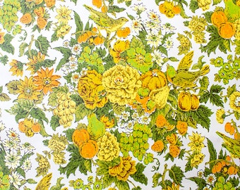 Retro Wallpaper - Vintage Yellow, Orange, Green, and White Bird and Fruit Floral Pattern - The Wallflower Shop