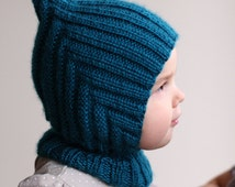 knitted warm and soft baby balaclava hood hat with collar, 6-12, 12-24 months baby, hat, scarf, cape, pixie, hood, many colours available