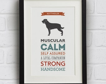 Rottweiler Dog Breed Traits Print - Rottie Print