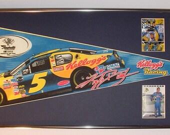 NASCAR driver #5, Kyle Busch pennant & cards...Custom Framed!