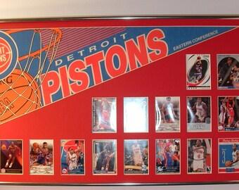 Detroit Pistons Basketball Pennant & Cards Retrospective...Custom Framed