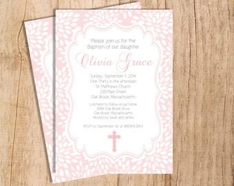 Modern Floral Digital Printable Baptism Invitation . JPEG or PDF File . Digital Invitation . Christening Invitation . First Communion