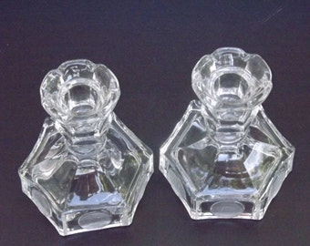 Vintage, set of two Fostoria taper candle holders
