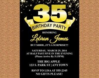 35th Birthday Invitation, Black and Gold Invitation, Milestone Birthday Invitation - Digital File