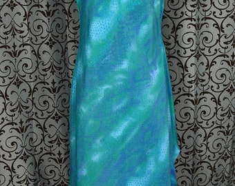 Vintage 1990s Tropical Blue-Green Dress 14P/Made in USA/Beach/Summer/Casual Dress