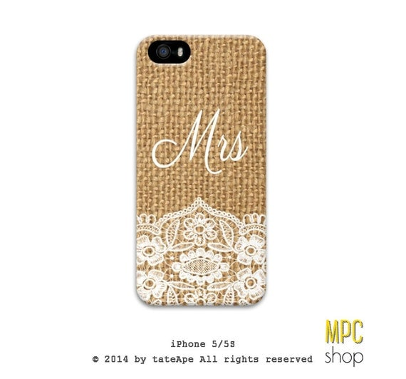 wedding white lace burlap iphone 5 case - bride iphone 5 case - Mrs Iphone 5s 5C case, Iphone 4/4s case