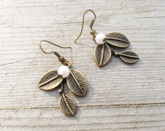 "Earrings ""Snowdrop""  Color: bronze"