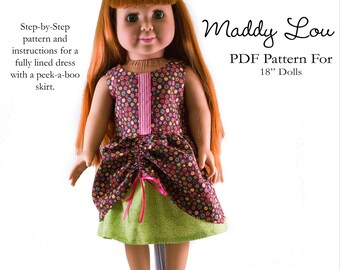 Pixie Faire Aha Customs Maddy Lou Dress Doll Clothes Pattern for 18 inch American Girl Dolls - PDF