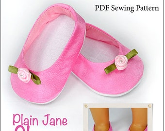 Pixie Faire Love U Bunches Plain Jane Shoes Doll Clothes Pattern for 18 inch AG Dolls - PDF
