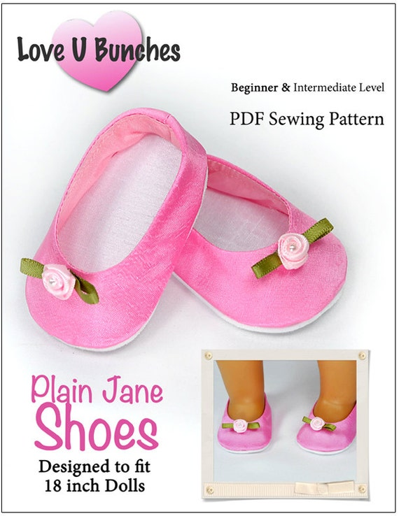 Pixie Faire Love U Bunches Plain Jane Shoes Doll Clothes Pattern for 18 inch AG Dolls - PDF