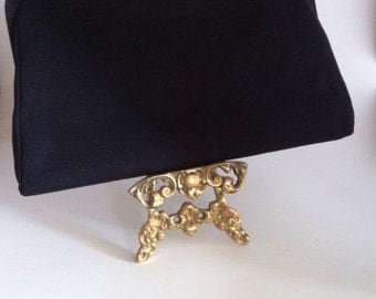 Vintage black Clutch with Gold Clasp