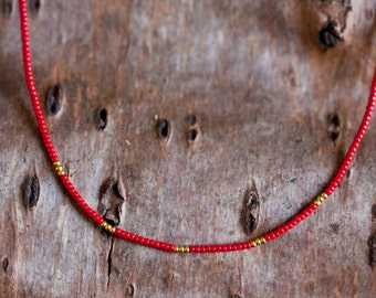 Thin stacking necklace - red and gold plated - minimalist and simple