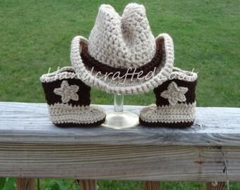 Crochet Newborn Baby Cowboy Hat Boots Outfit Photo Prop Set 0-3, 3-6 Month Shower Gift Keepsake