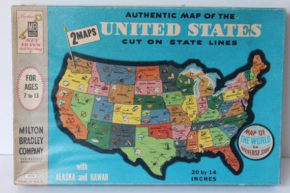 1961 Milton Bradley Double Sided United States and World Map ...