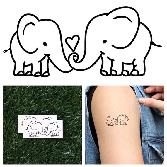 Elephant couple temporary tattoo set of 2 for Temporary elephant tattoo