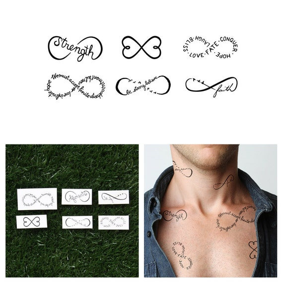 infinity symbols set temporary tattoo set of 6. Black Bedroom Furniture Sets. Home Design Ideas