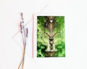 Goddess Gaia Nature Art Card, Blank Greeting Card, Goddess Blowing a Kiss, Handmade Natural Photography Print