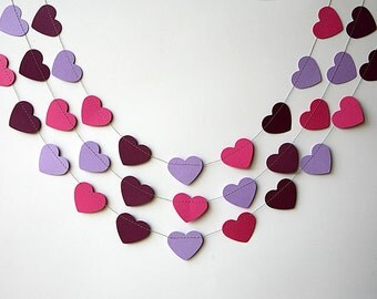 Purple hot pink heart garland - Heart garland - Valentine decor - Paper garland - Wedding decoration, Bridal shower, Nursery decor, KCO-3034