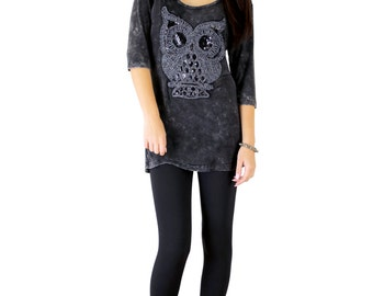 Retro Vintage Steampunk Inspired Oversized Owl Bling T-Shirt Tunic Dress