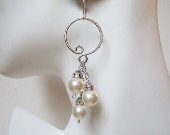 Pearl Dangle Earrings Sterling Silver Hoops Pearl Cluster Earrings Sterling Silver Earrings Wedding Earrings Evening earrings