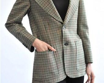 Tweed Houndstooth Pattern Simple Form Jacket