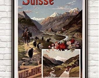 Vintage Poster of Switzerland Rhone Suisse , 1897