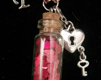 Valentine's Day Heart & Circle Scales Bottle Charm Necklace With Letter and Heart Shaped Lock and Key Charms