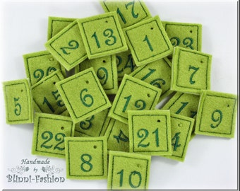 Advent calendar  numbers, embroidered on felt, choose color, 2,5 x 3 cm