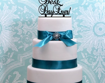 Best Day Ever Wedding Cake Topper Personalized