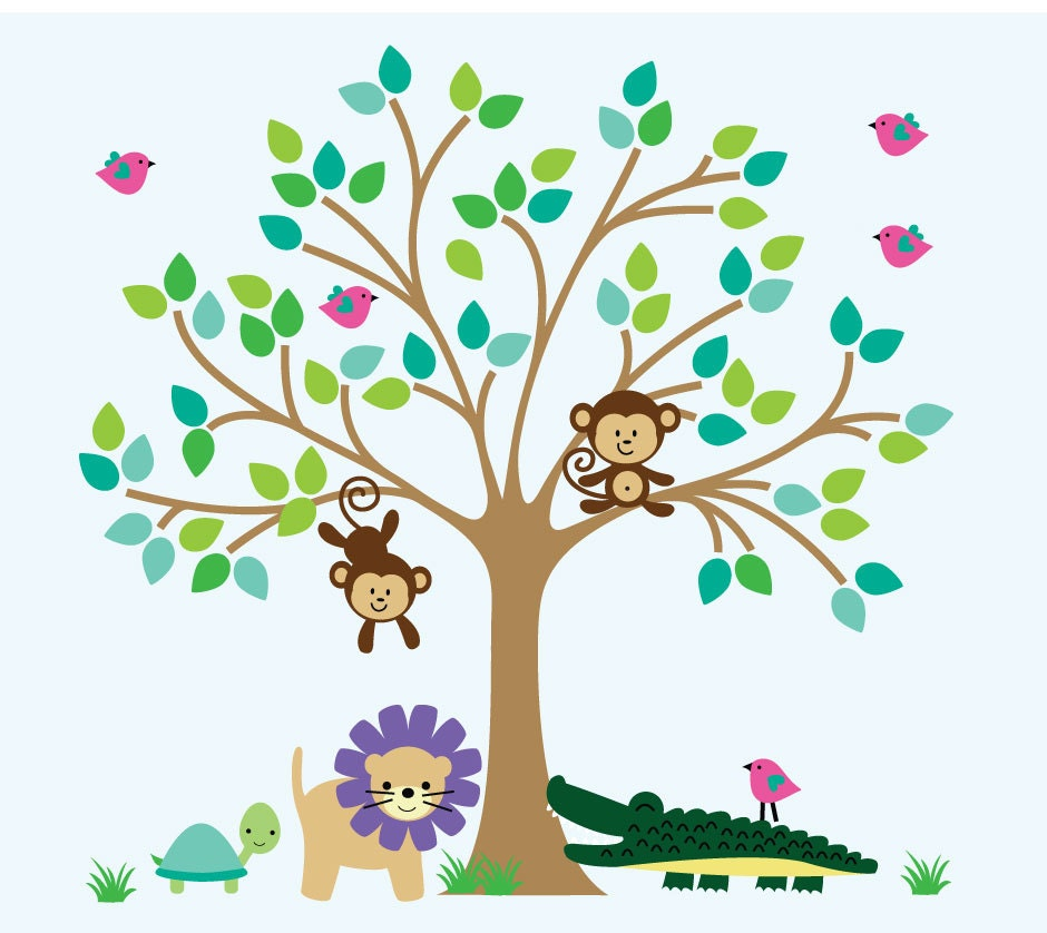 Tree wall fabric decals kids jungle wall decal nontoxic no for Kids jungle fabric