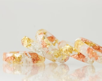Resin Ring - Clear Eco Resin Faceted Ring with Gold, Silver & Copper Flakes