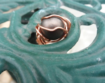 Copper Wire Wrapped Ring With Brown Shell Pearl