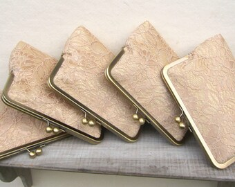 Gold clutches, gold lace clutch set, gold bridesmaid set of 5, bridesmaid gift, gold bridesmaid clutch bag, personalized gifts, gold wedding
