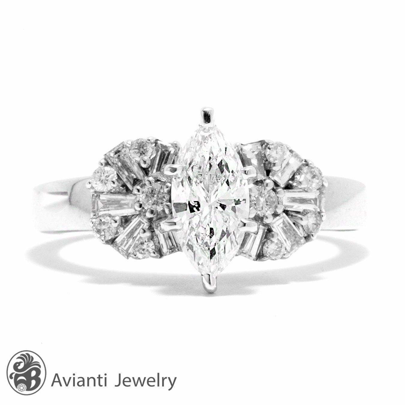 Ring Unique Marquise cut Diamond Engagement Ring by AviantiJewelry
