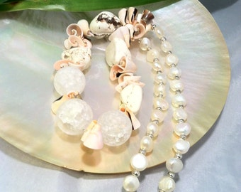 Gifts From The Sea/ Statement Necklace/ Shell Necklace/ Freshwater Pearl Necklace/ Chunky Necklace