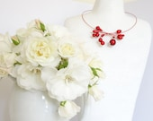 """Red necklace """"miracle beads"""" on coated memory wire, choker"""