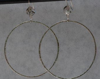 Argentium Silver, Dangle Hoop Earrings, Swarovski Crystals, LARGE