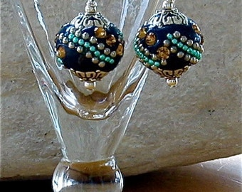 Navy Blue Pierced Earrings