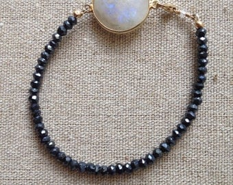 Rainbow Moonstone and black pyrite bracelet