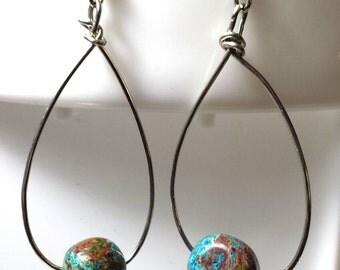 Dyed Quartzite Hoop Earrings