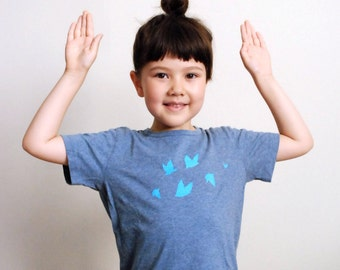 Hand-printed Kids T shirt  | Blue Birds | organic cotton | eco-friendly